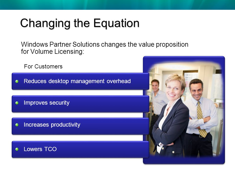 Windows Partner Solutions changes the value proposition for Volume Licensing: For Customers Changing the Equation Reduces desktop management overhead Improves security Increases productivity Lowers TCO