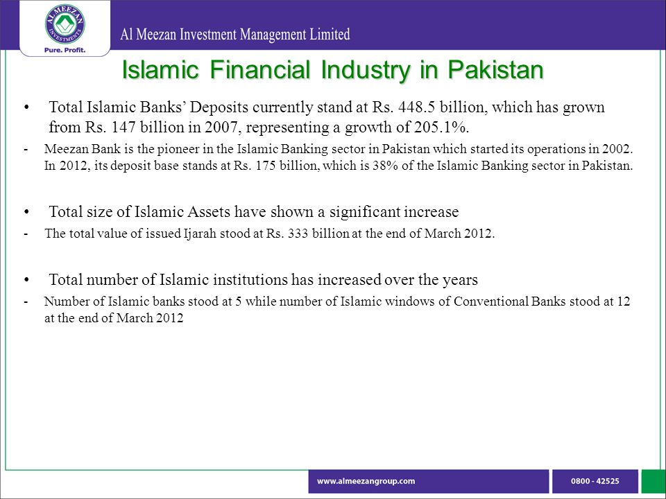 Islamic Financial Industry in Pakistan Total Islamic Banks Deposits currently stand at Rs.