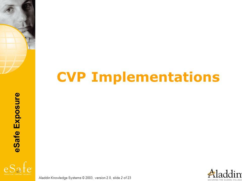 eSafe Exposure Aladdin Knowledge Systems © 2003, version 2.0, slide 2 of 23 CVP Implementations