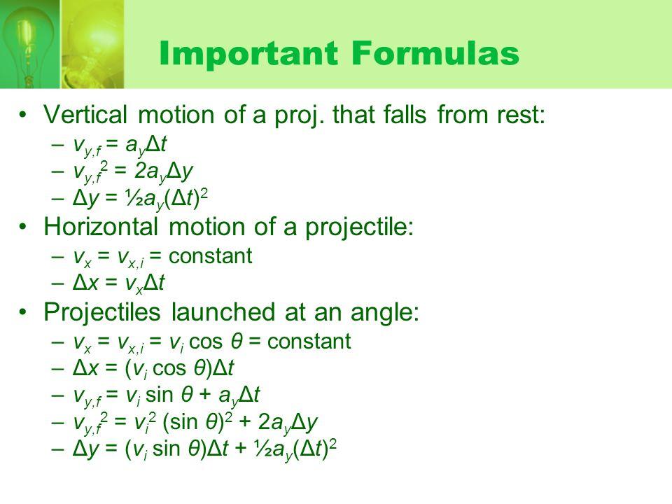 Important Formulas Vertical motion of a proj. that falls from rest: –v y,f = a y Δt –v y,f 2 = 2a y Δy –Δy = ½a y (Δt) 2 Horizontal motion of a projec