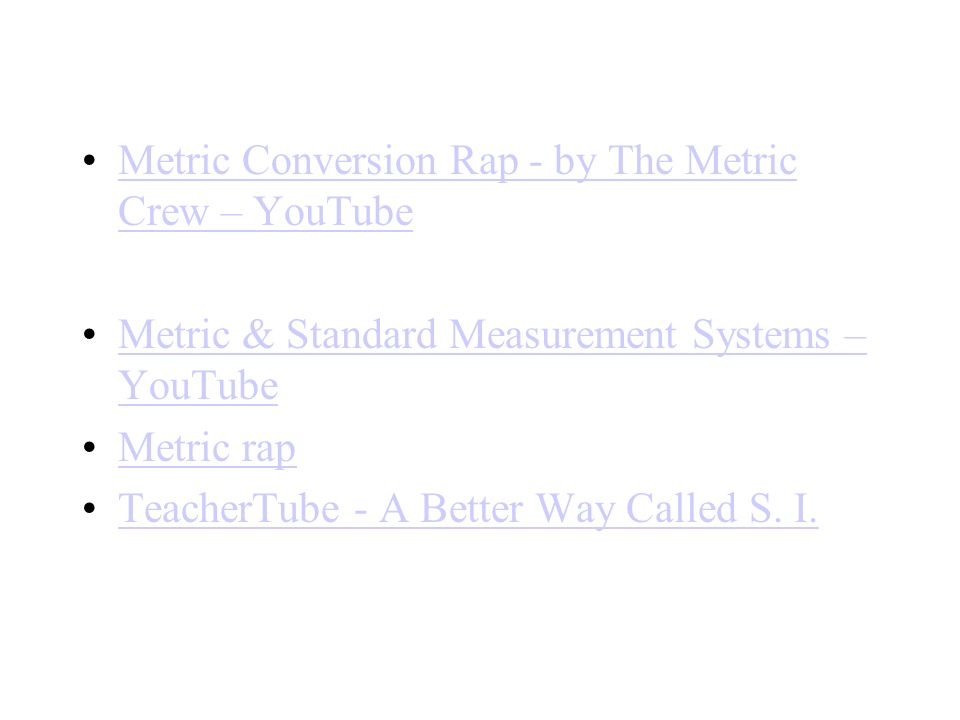 Metric Conversion Rap - by The Metric Crew – YouTubeMetric Conversion Rap - by The Metric Crew – YouTube Metric & Standard Measurement Systems – YouTu