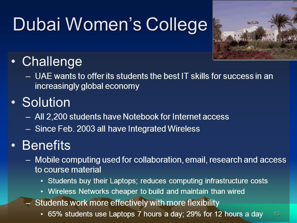 13 Dubai Womens College Challenge –UAE wants to offer its students the best IT skills for success in an increasingly global economy Solution –All 2,200 students have Notebook for Internet access –Since Feb.