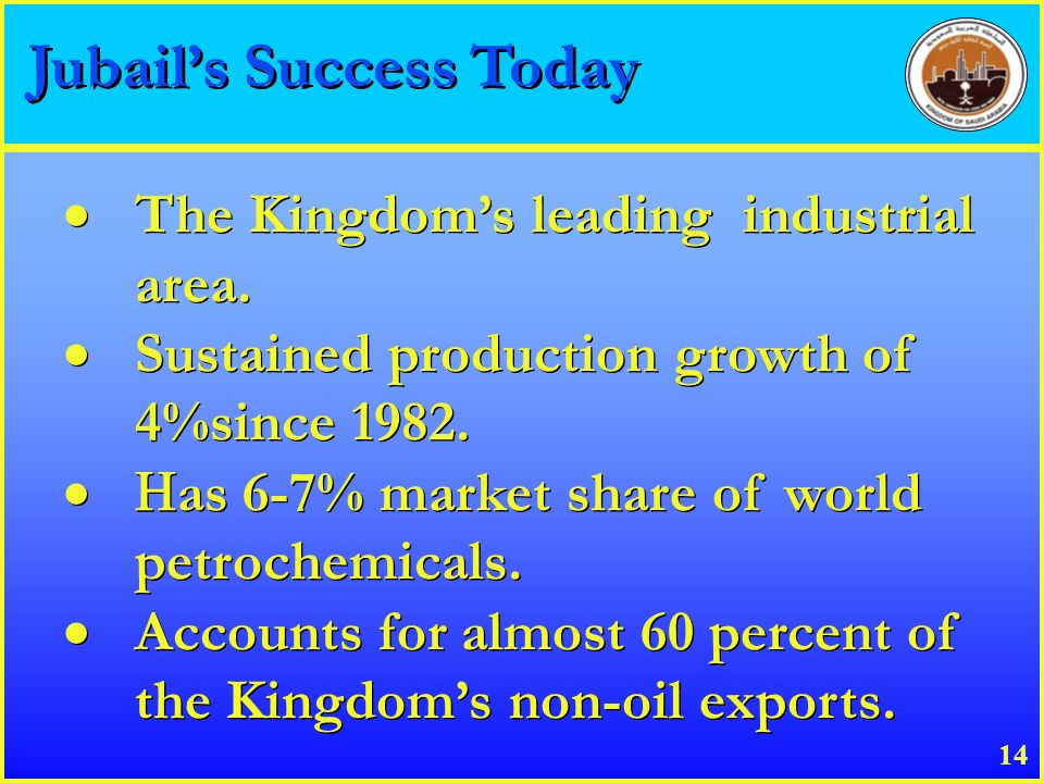 Jubails Success Today The Kingdoms leading industrial area. Sustained production growth of 4%since 1982. as 6-7% market share of world petrochemicals.