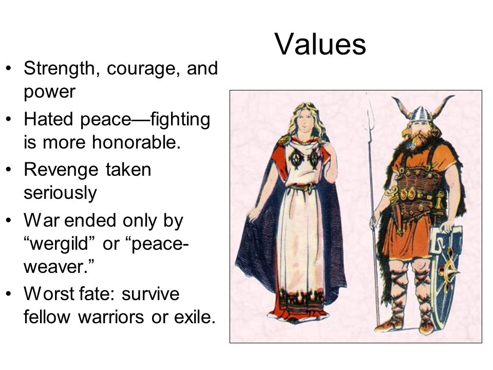 Values Strength, courage, and power Hated peacefighting is more honorable. Revenge taken seriously War ended only by wergild or peace- weaver. Worst f