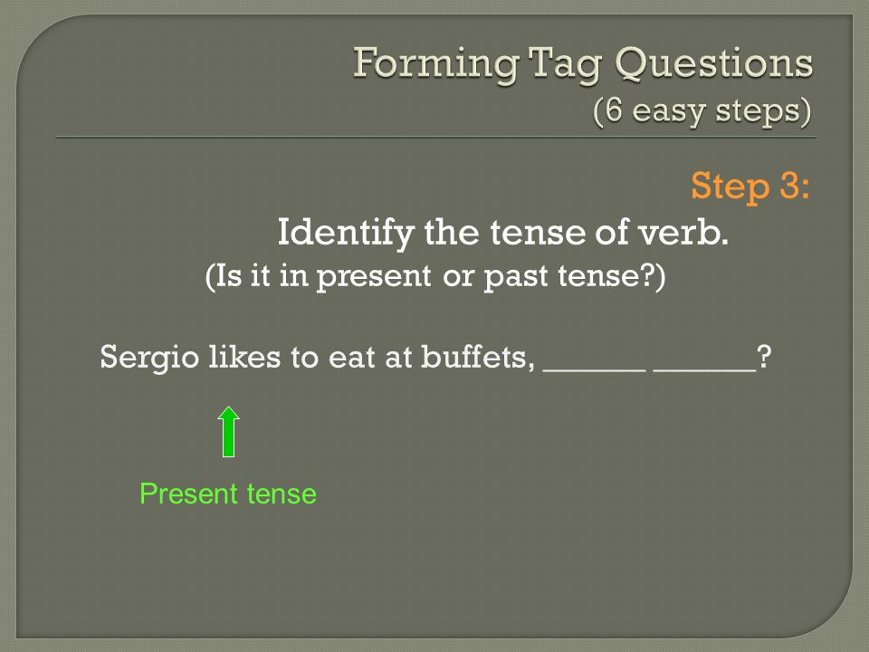 Step 3: Identify the tense of verb.