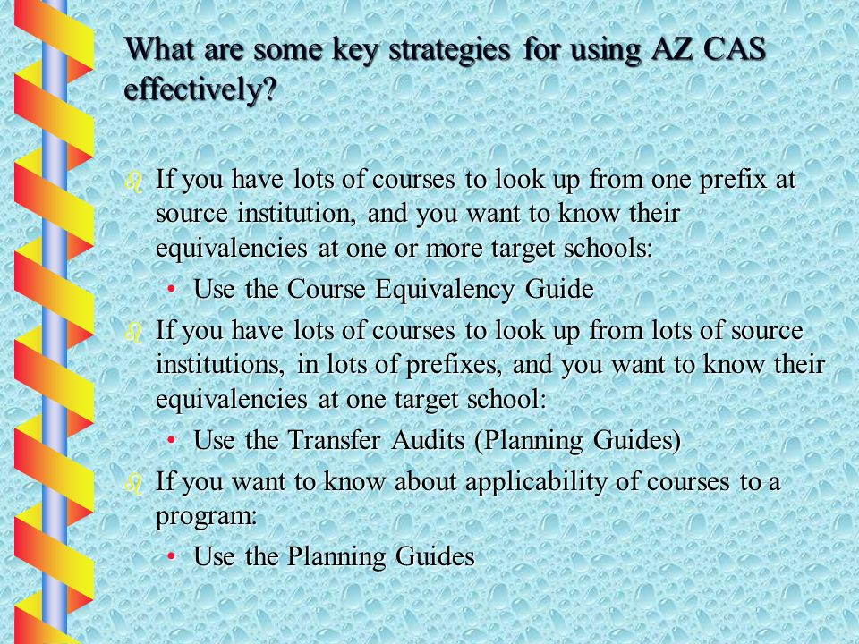 What are some key strategies for using AZ CAS effectively.