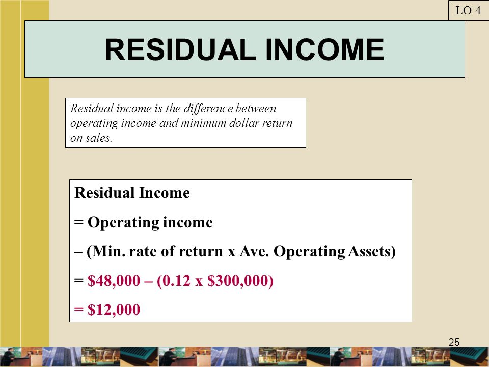 25 RESIDUAL INCOME Residual income is the difference between operating income and minimum dollar return on sales. LO 4 Residual Income = Operating inc