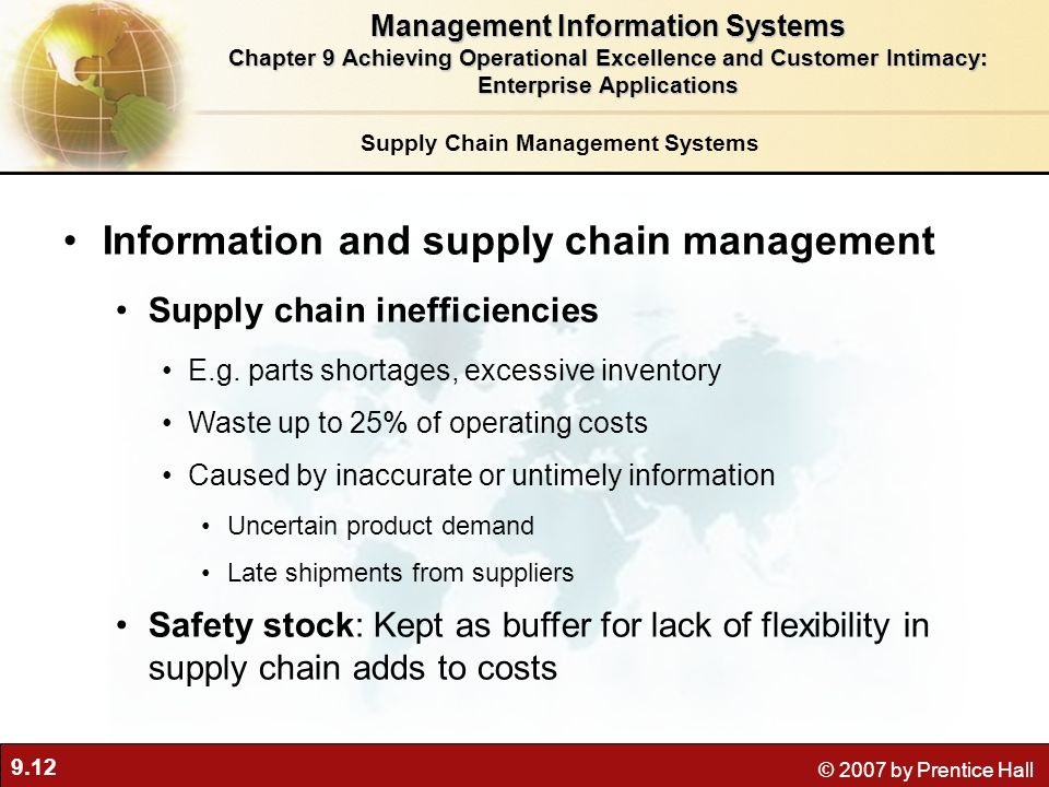 9.12 © 2007 by Prentice Hall Supply Chain Management Systems Information and supply chain management Supply chain inefficiencies E.g.