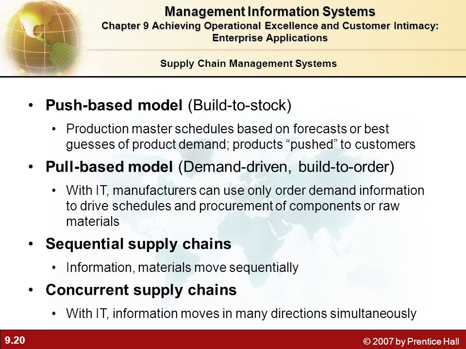 9.20 © 2007 by Prentice Hall Supply Chain Management Systems Push-based model (Build-to-stock) Production master schedules based on forecasts or best guesses of product demand; products pushed to customers Pull-based model (Demand-driven, build-to-order) With IT, manufacturers can use only order demand information to drive schedules and procurement of components or raw materials Sequential supply chains Information, materials move sequentially Concurrent supply chains With IT, information moves in many directions simultaneously Management Information Systems Chapter 9 Achieving Operational Excellence and Customer Intimacy: Enterprise Applications