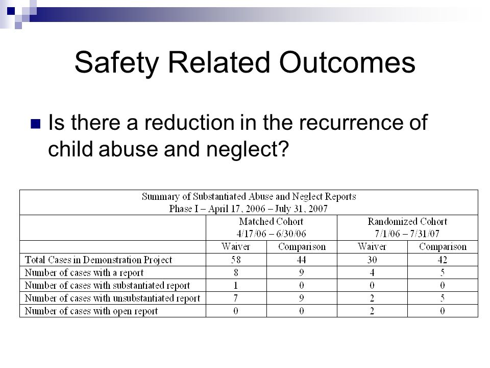 Safety Related Outcomes Is there a reduction in the recurrence of child abuse and neglect?