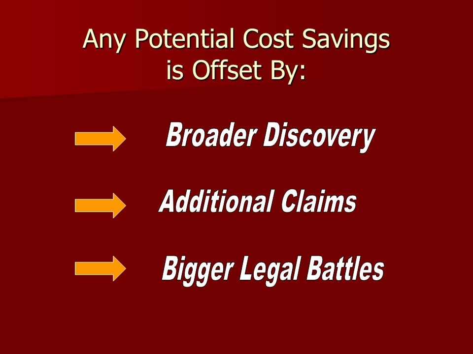 Any Potential Cost Savings is Offset By: