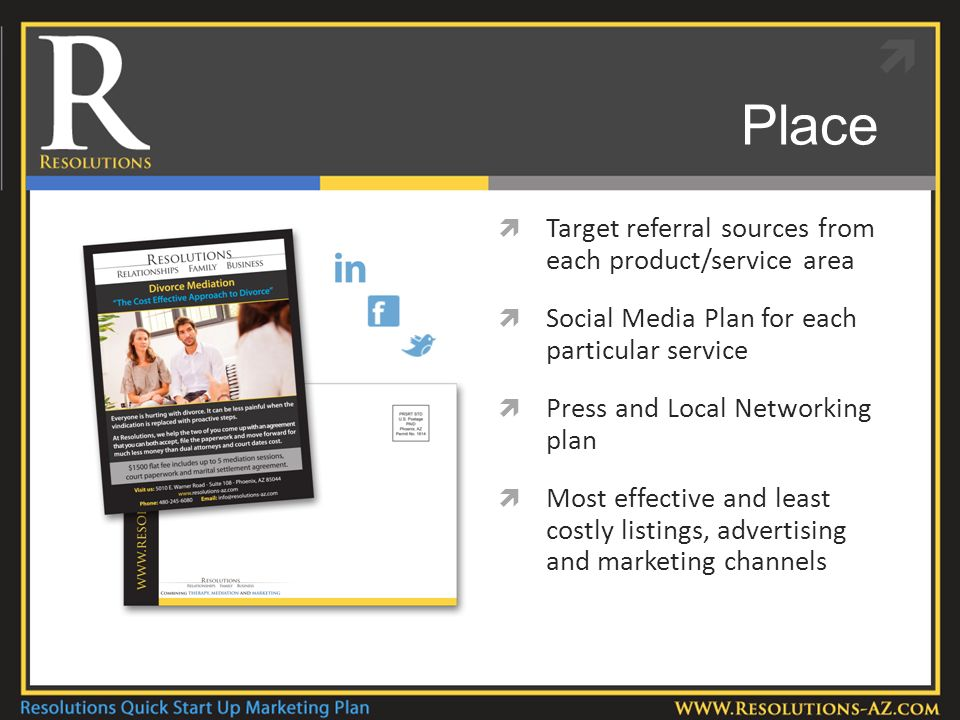 Place Target referral sources from each product/service area Social Media Plan for each particular service Press and Local Networking plan Most effective and least costly listings, advertising and marketing channels