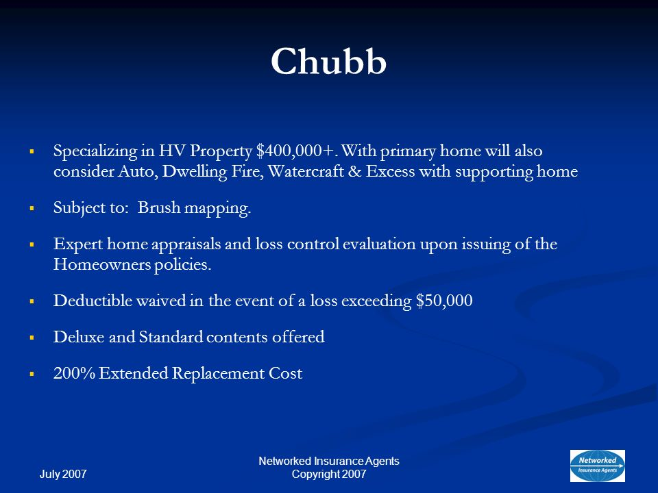 July 2007 Networked Insurance Agents Copyright 2007 Chubb Specializing in HV Property $400,000+.