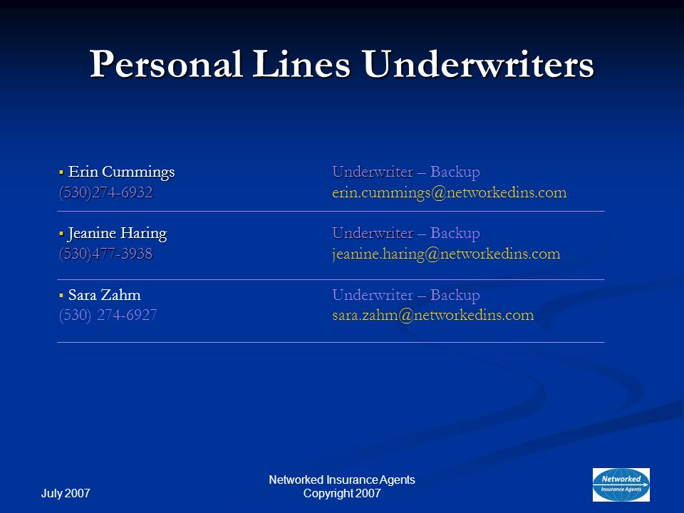 July 2007 Networked Insurance Agents Copyright 2007 Personal Lines Underwriters Erin Cummings Underwriter Erin Cummings Underwriter – Backup (530)274-6932 (530)274-6932erin.cummings@networkedins.com Jeanine Haring Underwriter Jeanine Haring Underwriter – Backup (530)477-3938 (530)477-3938jeanine.haring@networkedins.com Sara ZahmUnderwriter – Backup (530) 274-6927sara.zahm@networkedins.com