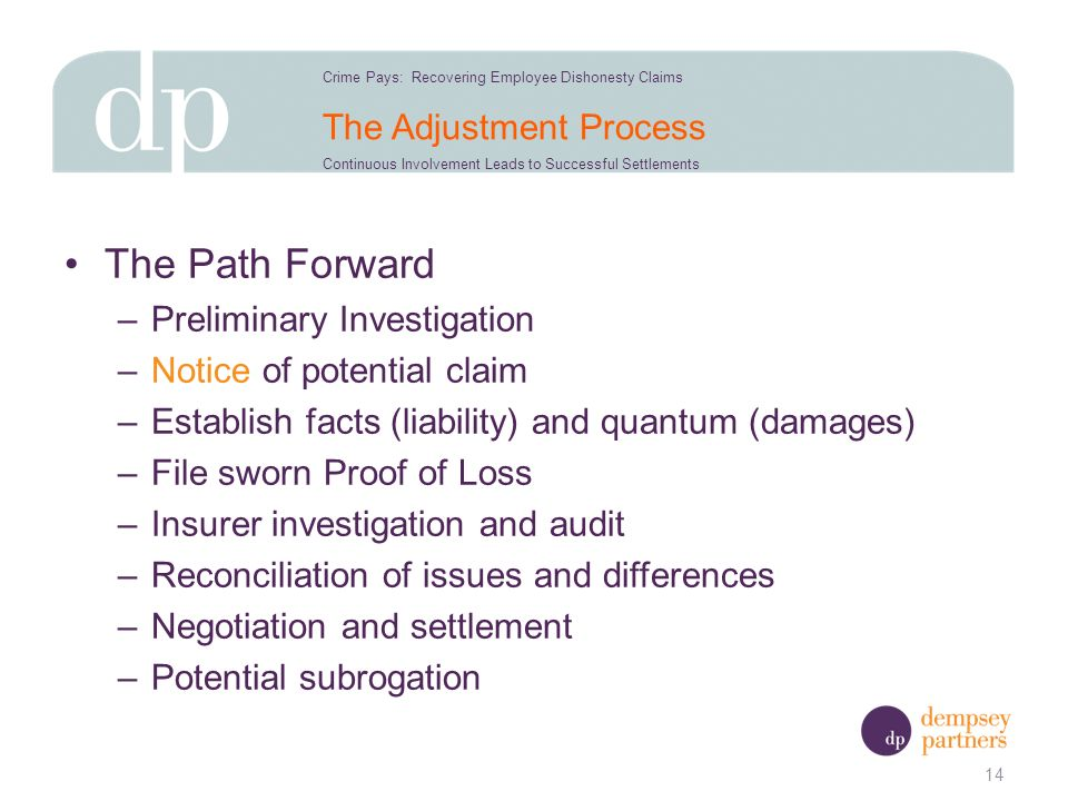The Adjustment Process The Path Forward –Preliminary Investigation –Notice of potential claim –Establish facts (liability) and quantum (damages) –File sworn Proof of Loss –Insurer investigation and audit –Reconciliation of issues and differences –Negotiation and settlement –Potential subrogation 14 Crime Pays: Recovering Employee Dishonesty Claims Continuous Involvement Leads to Successful Settlements
