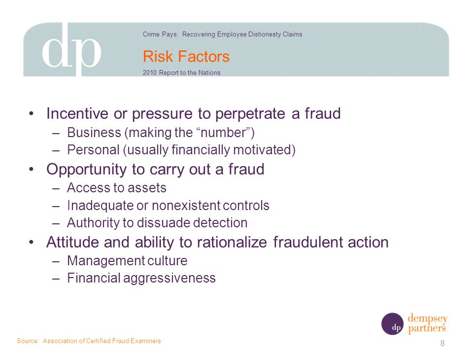 Risk Factors Incentive or pressure to perpetrate a fraud –Business (making the number) –Personal (usually financially motivated) Opportunity to carry