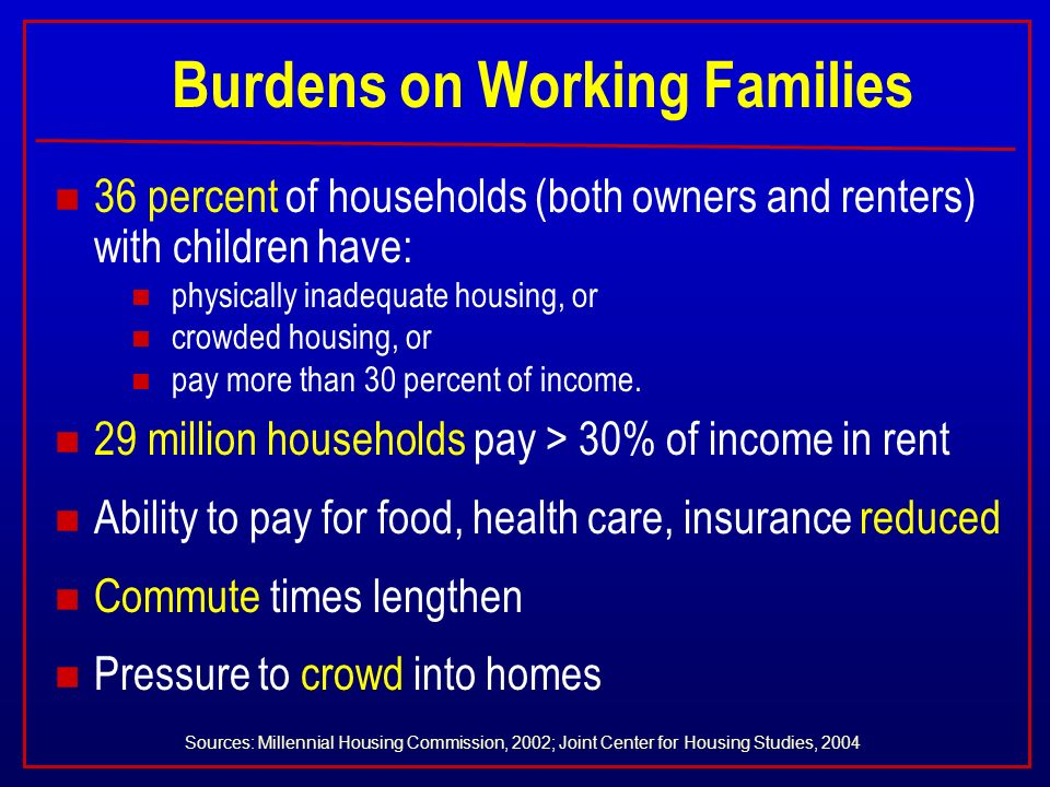 Burdens on Working Families n 36 percent of households (both owners and renters) with children have: n physically inadequate housing, or n crowded housing, or n pay more than 30 percent of income.