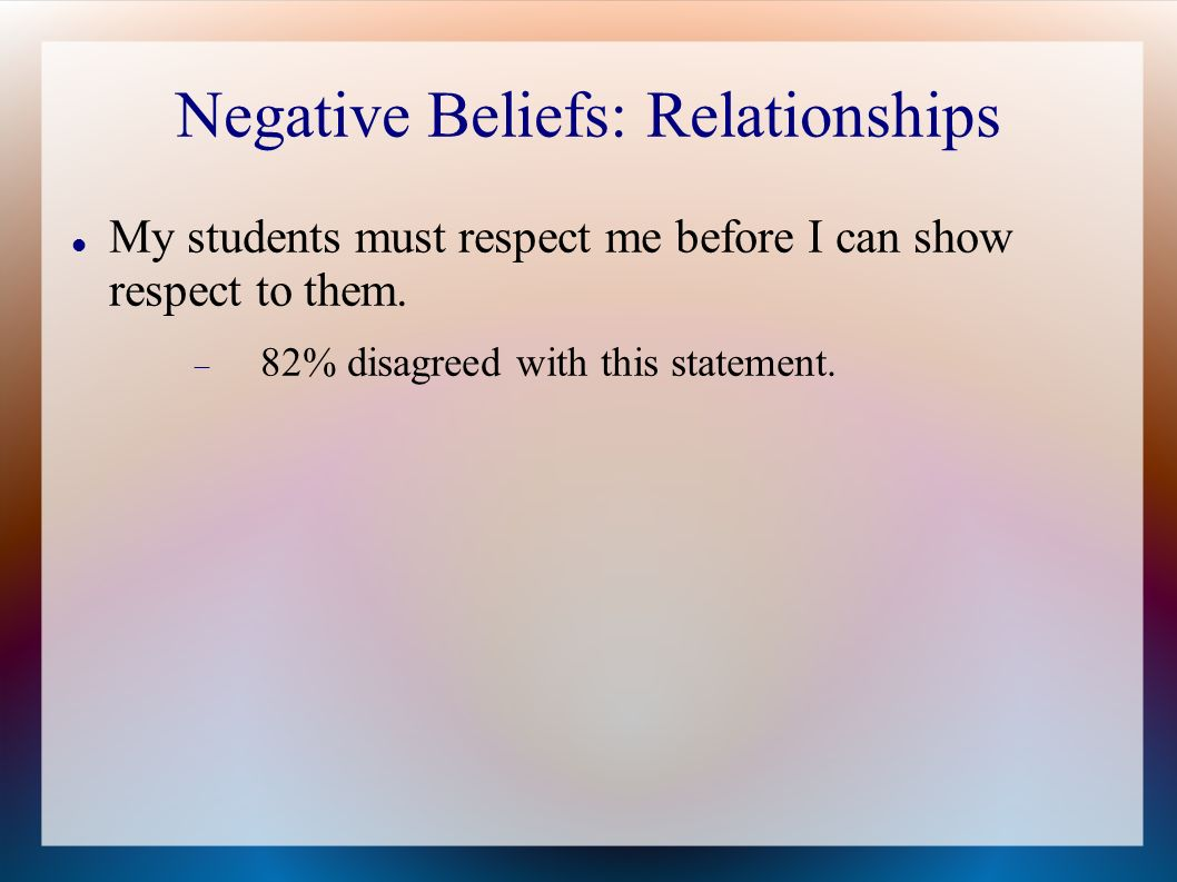 Negative Beliefs: Relationships My students must respect me before I can show respect to them.