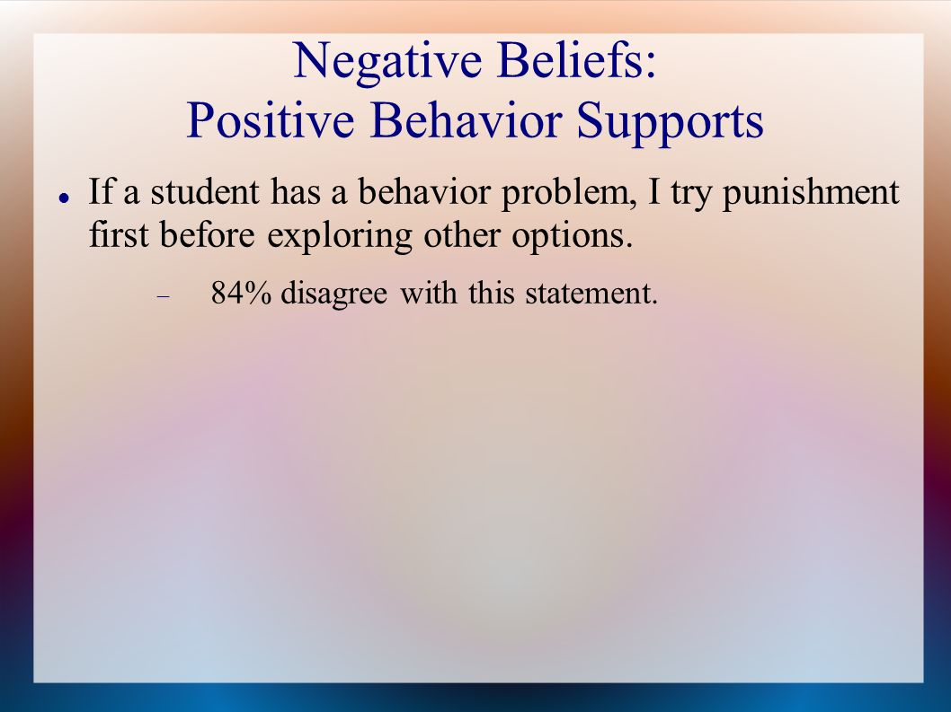 Negative Beliefs: Positive Behavior Supports If a student has a behavior problem, I try punishment first before exploring other options. 84% disagree