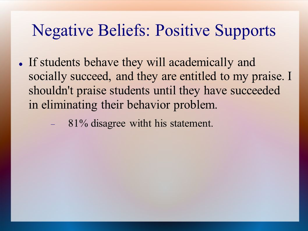 Negative Beliefs: Positive Supports If students behave they will academically and socially succeed, and they are entitled to my praise. I shouldn't pr