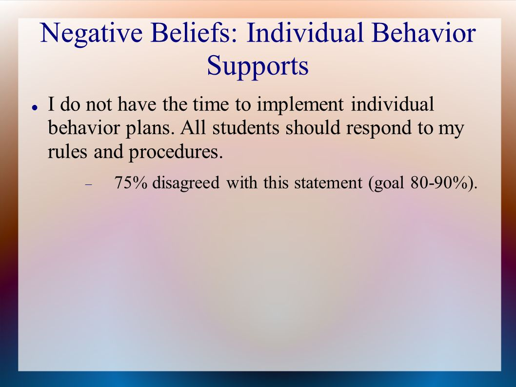 Negative Beliefs: Individual Behavior Supports I do not have the time to implement individual behavior plans. All students should respond to my rules