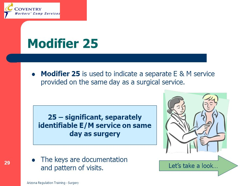 29 Arizona Regulation Training - Surgery Modifier 25 Modifier 25 is used to indicate a separate E & M service provided on the same day as a surgical service.