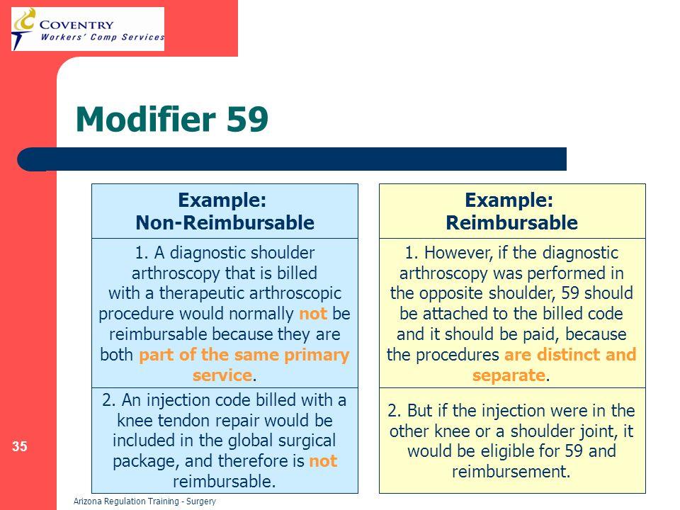 35 Arizona Regulation Training - Surgery Modifier 59 Example: Non-Reimbursable Example: Reimbursable 1. A diagnostic shoulder arthroscopy that is bill