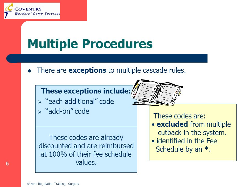 5 Arizona Regulation Training - Surgery Multiple Procedures There are exceptions to multiple cascade rules.