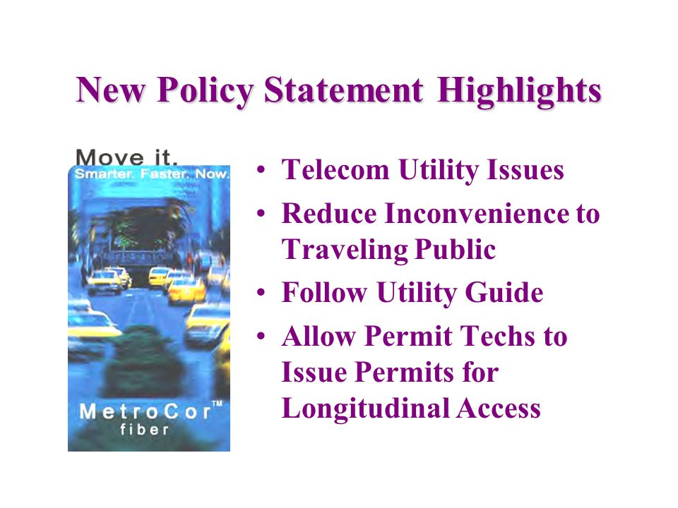 Permit/Contract Process Wireline Policy Statement for Telecommunications Utility Contract Asset