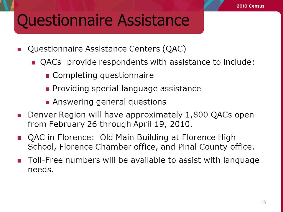 Questionnaire Assistance Questionnaire Assistance Centers (QAC) QACs provide respondents with assistance to include: Completing questionnaire Providing special language assistance Answering general questions Denver Region will have approximately 1,800 QACs open from February 26 through April 19, 2010.