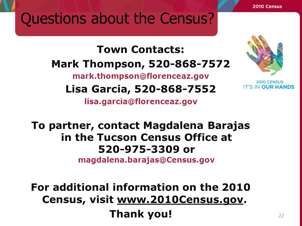 Questions about the Census.