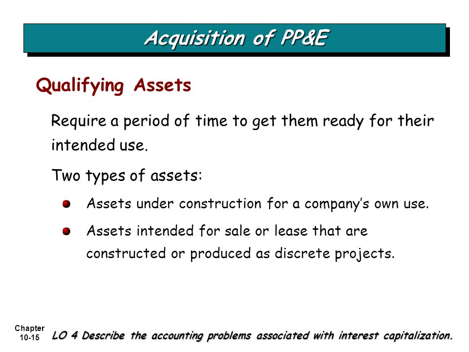 Chapter 10-15 Require a period of time to get them ready for their intended use. Two types of assets: Assets under construction for a companys own use