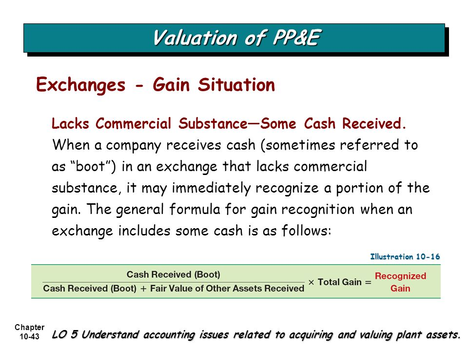 Chapter 10-43 Valuation of PP&E LO 5 Understand accounting issues related to acquiring and valuing plant assets. Exchanges - Gain Situation Lacks Comm