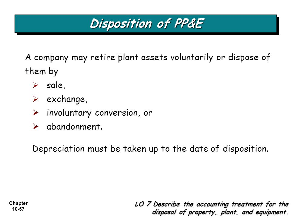 Chapter 10-57 Disposition of PP&E LO 7 Describe the accounting treatment for the disposal of property, plant, and equipment. A company may retire plan