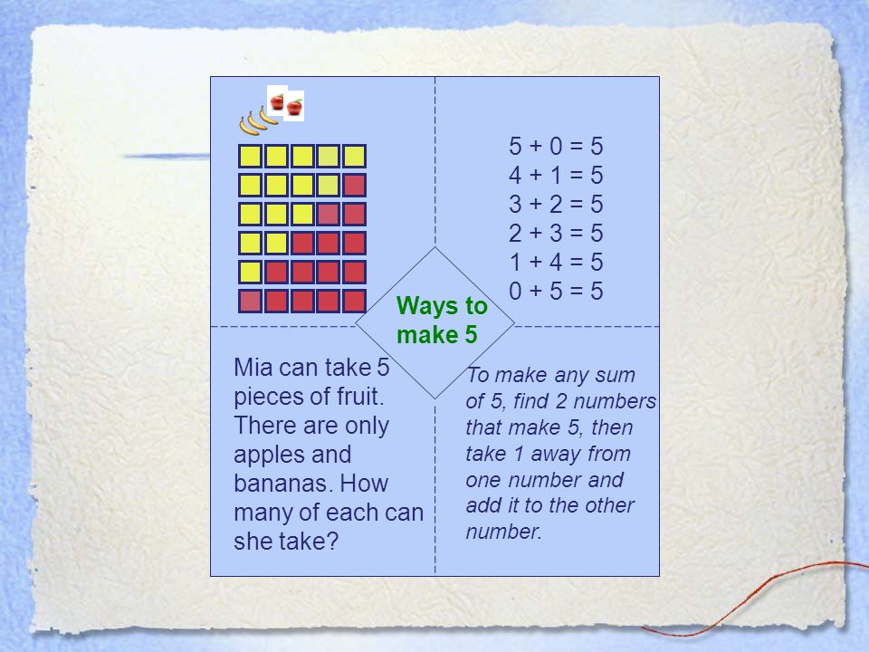 Ways to make 5 Mia can take 5 pieces of fruit. There are only apples and bananas.