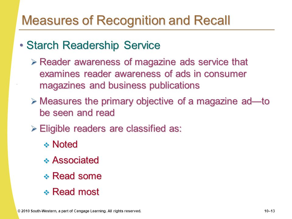 © 2010 South-Western, a part of Cengage Learning. All rights reserved.10–13 Measures of Recognition and Recall Starch Readership ServiceStarch Readers