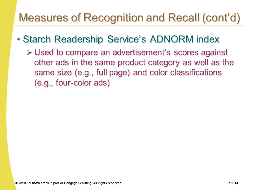 © 2010 South-Western, a part of Cengage Learning. All rights reserved.10–14 Measures of Recognition and Recall (contd) Starch Readership Services ADNO