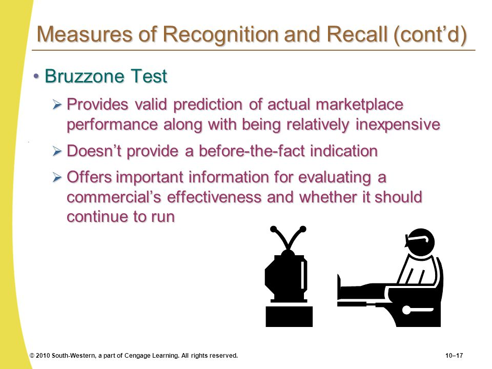 © 2010 South-Western, a part of Cengage Learning. All rights reserved.10–17 Measures of Recognition and Recall (contd) Bruzzone TestBruzzone Test Prov