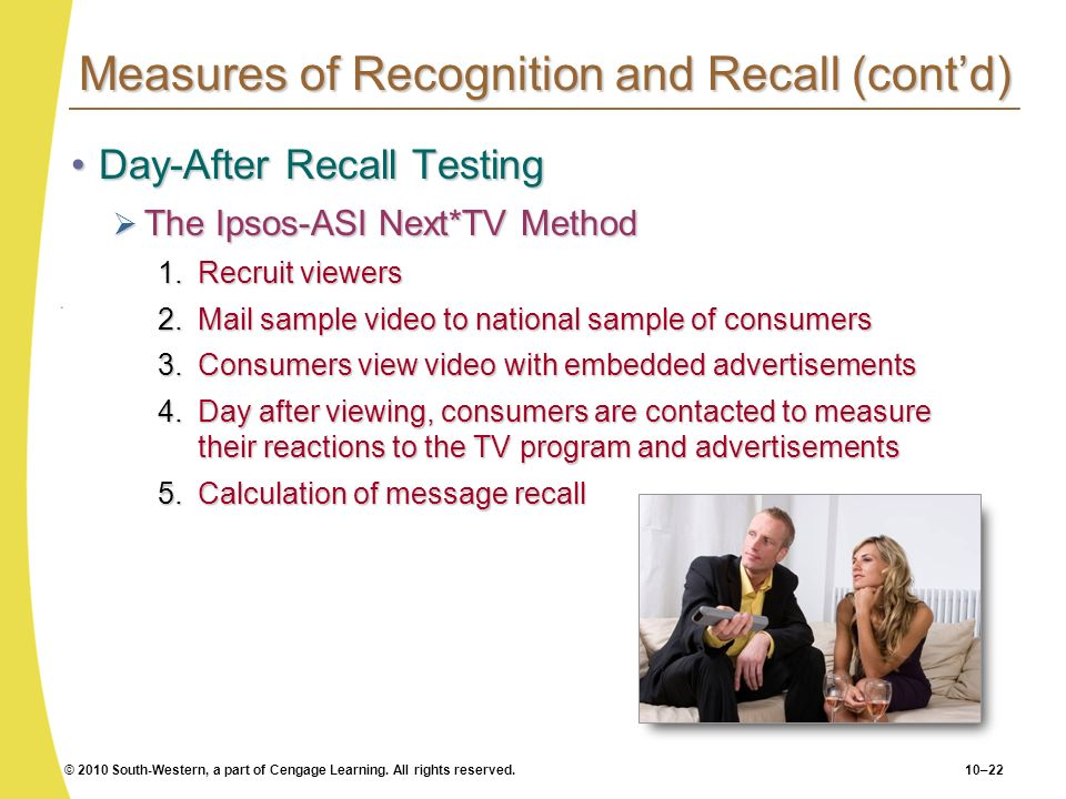 © 2010 South-Western, a part of Cengage Learning. All rights reserved.10–22 Measures of Recognition and Recall (contd) Day-After Recall TestingDay-Aft