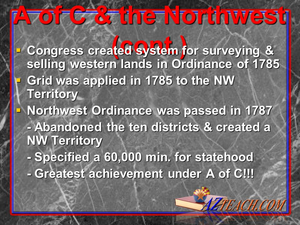 A of C & the Northwest (cont.) Congress created system for surveying & selling western lands in Ordinance of 1785 Congress created system for surveyin