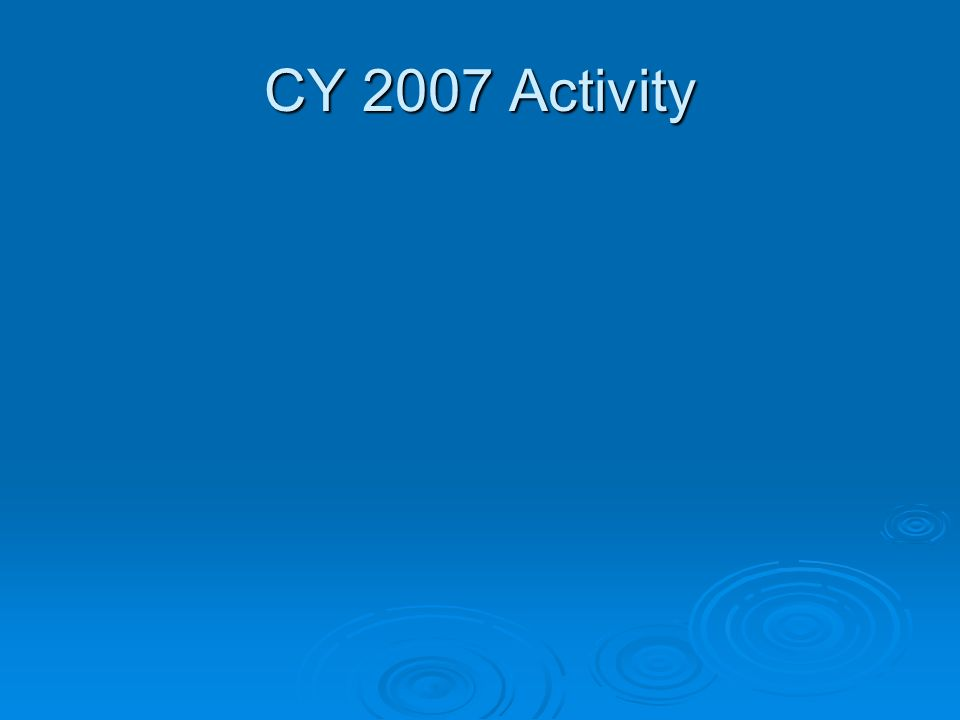 CY 2007 Activity
