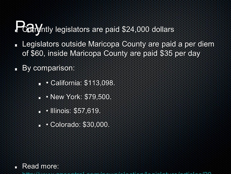 Pay Currently legislators are paid $24,000 dollars Legislators outside Maricopa County are paid a per diem of $60, inside Maricopa County are paid $35