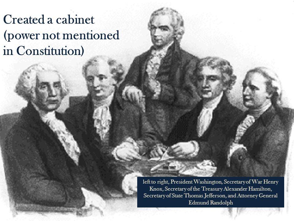 Thomas Jefferson Secretary of State Alexander Hamilton Secretary of Treasury Henry Knox Secretary of War Edmund Randolph Attorney General
