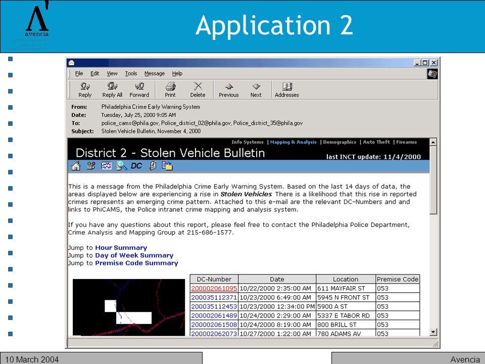 Avencia10 March 2004 Application 2