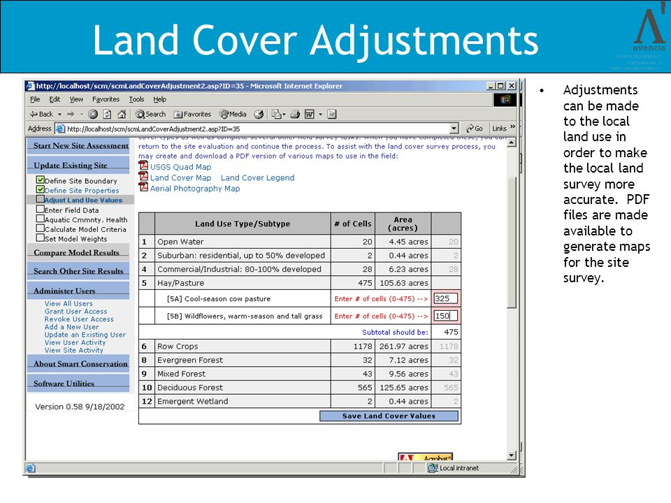 Land Cover Adjustments Adjustments can be made to the local land use in order to make the local land survey more accurate. PDF files are made availabl