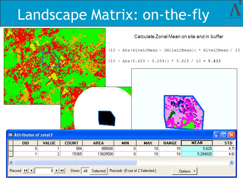 Landscape Matrix: on-the-fly Calculate Zonal Mean on site and in buffer (10 - Abs(SiteLCMean – 1MileLCMean)) * SiteLCMean / 10 (10 - Abs(5.625 – 5.284