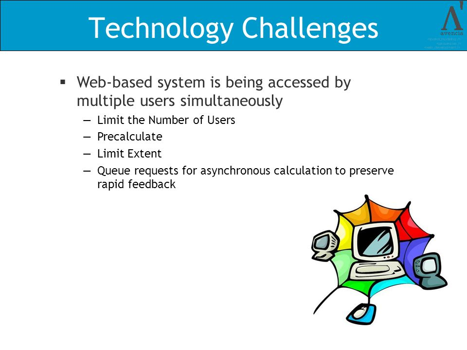 Technology Challenges Web-based system is being accessed by multiple users simultaneously Limit the Number of Users Precalculate Limit Extent Queue re