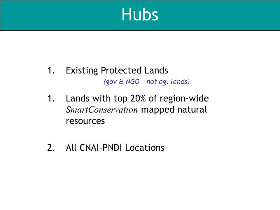 Hubs 1.Existing Protected Lands (gov & NGO - not ag. lands) 1.Lands with top 20% of region-wide SmartConservation mapped natural resources 2.All CNAI-