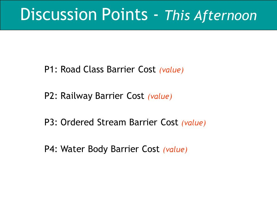 Discussion Points - This Afternoon P1: Road Class Barrier Cost (value) P2: Railway Barrier Cost (value) P3: Ordered Stream Barrier Cost (value) P4: Wa