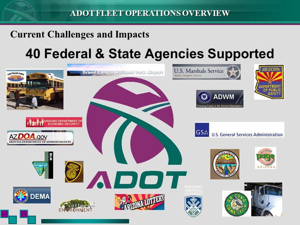 ADOT FLEET OPERATIONS OVERVIEW 40 Federal & State Agencies Supported LUSD Current Challenges and Impacts